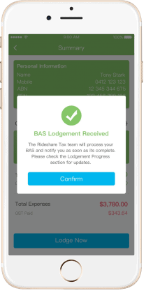 Rideshare Tax App BAS lodge